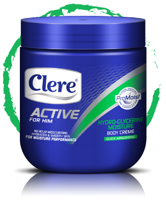 Clere Active for Him hydro-glycerine moisture body crème