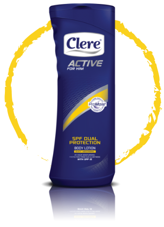 Clere Active for Him SPF dual protection body lotion